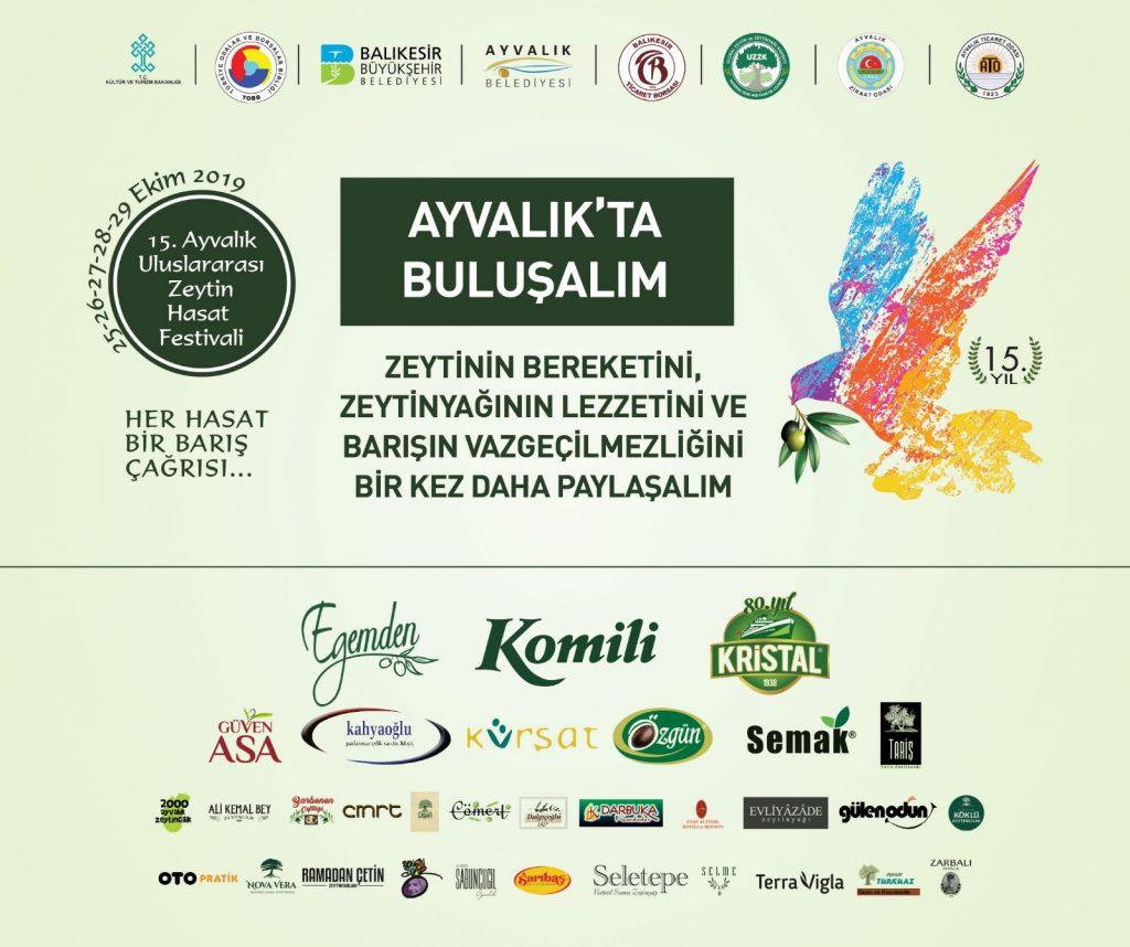 15. Ayvalık Uluslararası Zeytin Hasat Festivali  25-29 Ekim 2019 tarihleri arasında yapılacak